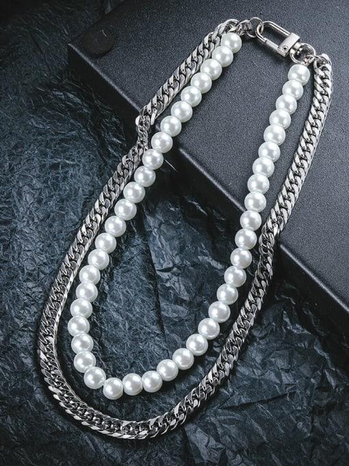 WOLF Titanium Steel Imitation Pearl Geometric Bohemia Multi Strand Necklace 2