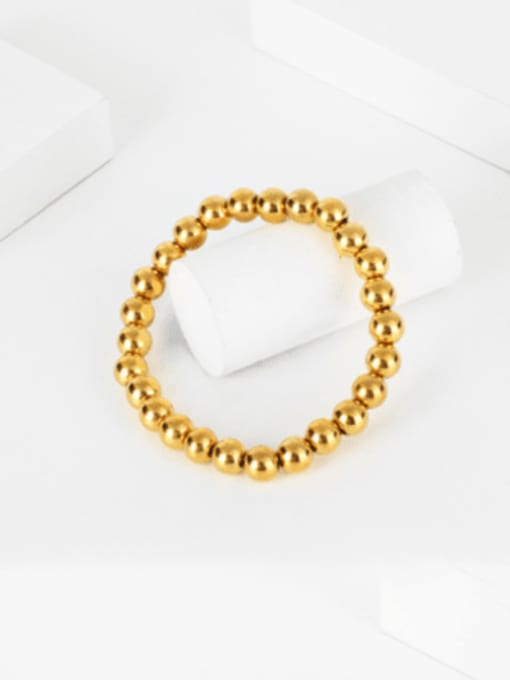 WOLF Titanium Steel Bead Round Hip Hop Beaded Bracelet 2