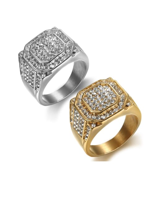 HI HOP Titanium Steel Rhinestone Geometric Hip Hop Band Ring 0