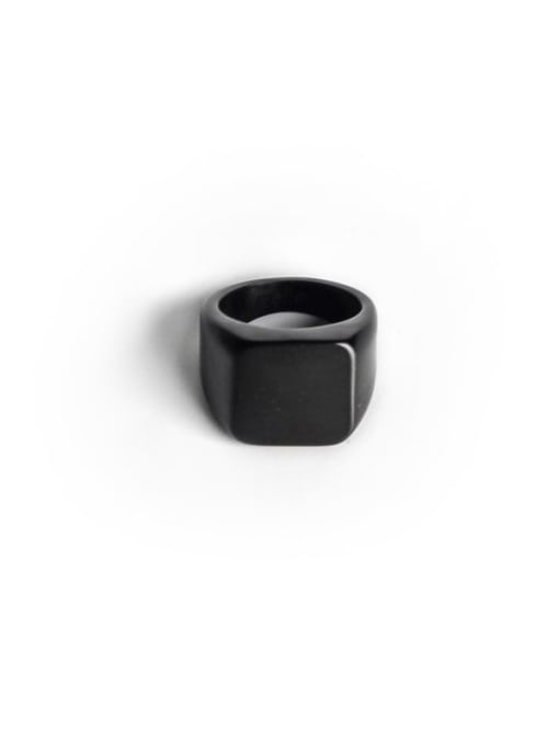 black Titanium Steel Geometric Minimalist Band Ring