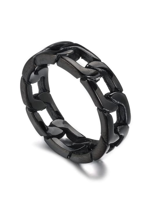 black Titanium Steel  Hollow Chain Vintage Band Ring