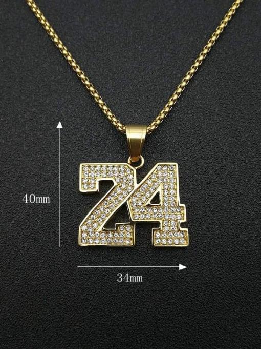 HI HOP Titanium Steel Rhinestone Number Vintage Necklace 1