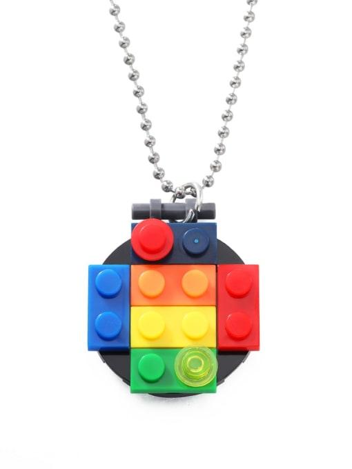 Round square block with cap Titanium Steel Resin Geometric Hip Hop Necklace