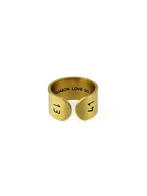 Gold (size 6) Titanium Steel Geometric Vintage Band Ring