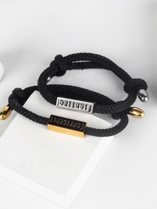 WOLF Titanium Steel Geometric Ethnic Adjustable Bracelet 2