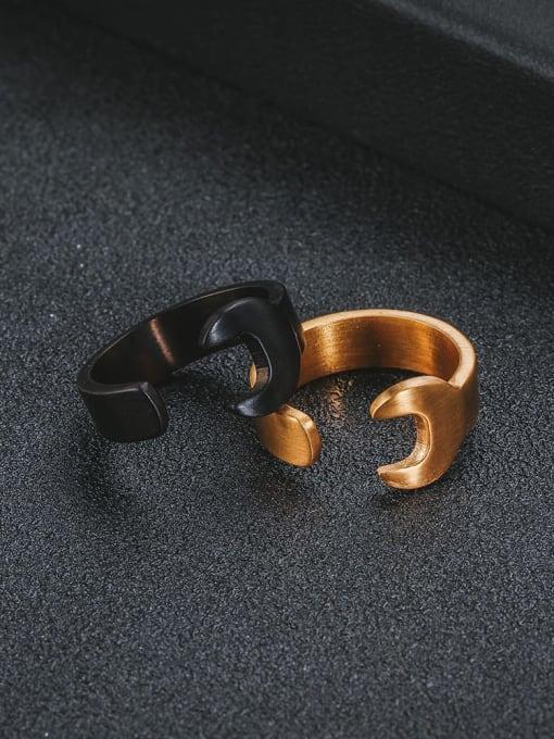 WOLF Titanium Steel Irregular Hip Hop Band Ring 1