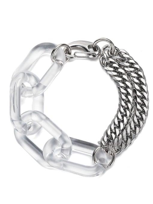 Steel color Titanium Steel Acrylic Geometric Hip Hop Link Bracelet