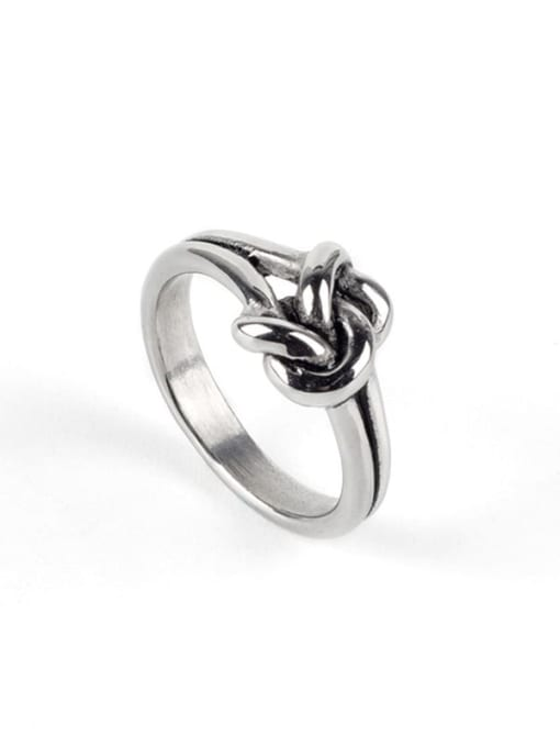 Steel color (size 6) Titanium Steel Bowknot Vintage Band Ring