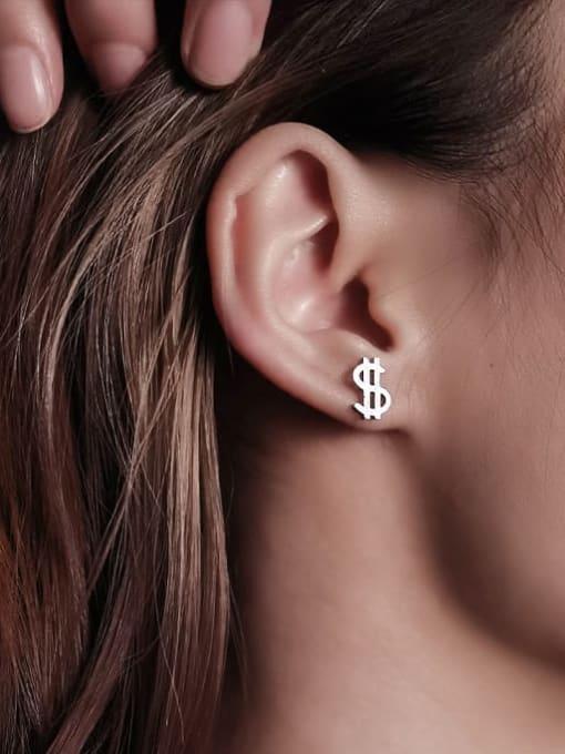 WOLF Titanium Steel Irregular Minimalist Stud Earring 1