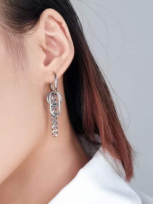 WOLF Titanium Steel Geometric Minimalist Single Earring 1