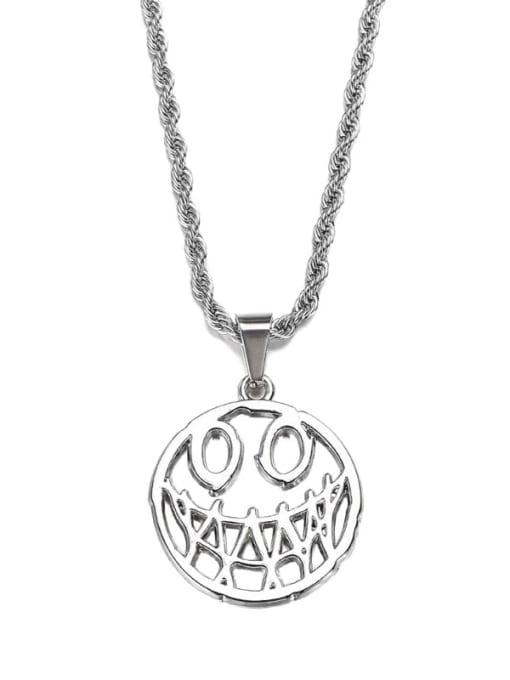 Steel color Titanium Steel Hip Hop Devil Smiley Long Strand Necklace
