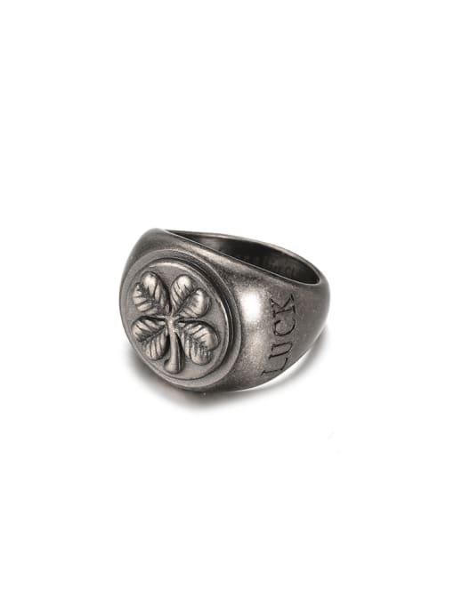 WOLF Titanium Steel Geometric Vintage Band Ring 3
