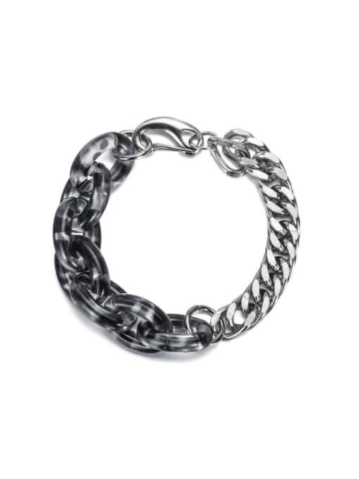 WOLF Titanium Steel Acrylic Geometric Vintage Link Bracelet