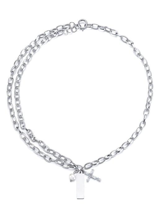Steel color Titanium Steel Geometric Hip Hop Necklace