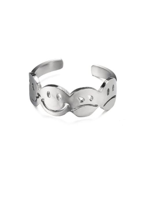 WOLF Titanium Steel Smiley Minimalist Band Ring 0