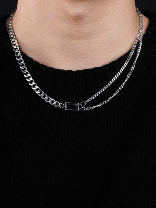 WOLF Titanium Steel Geometric Hip Hop Necklace 1