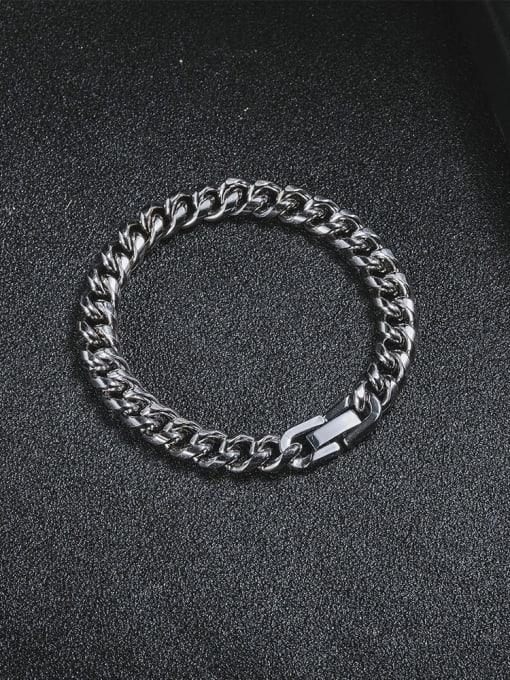 WOLF Titanium Steel Geometric Hip Hop Link Bracelet 2