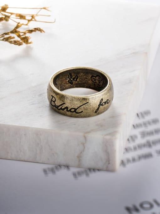 WOLF Titanium Steel Flower Vintage Band Ring 3