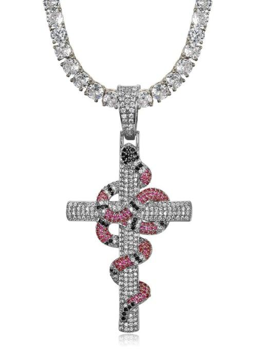 HI HOP Brass Cubic Zirconia Cross Vintage Regligious Necklace 2