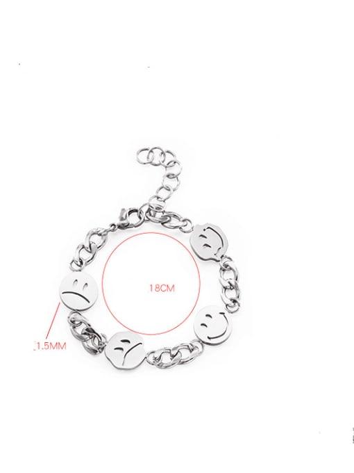 WOLF Titanium Steel Smiley Minimalist Link Bracelet 2