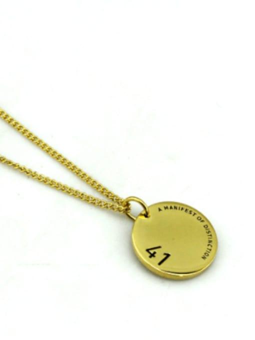 Gold (chain length 60cm) Titanium Steel Geometric Hip Hop Long Strand Necklace