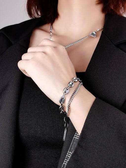 WOLF Titanium Steel Geometric Vintage Strand Bracelet 4