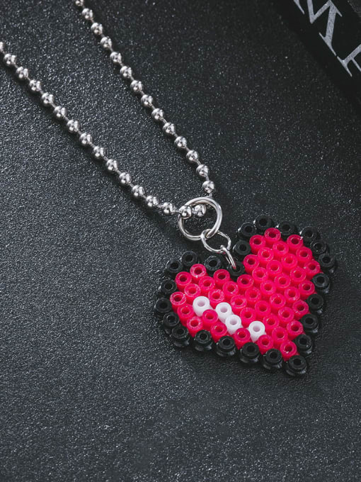 WOLF Stainless steel Bead Heart Minimalist Necklace 0