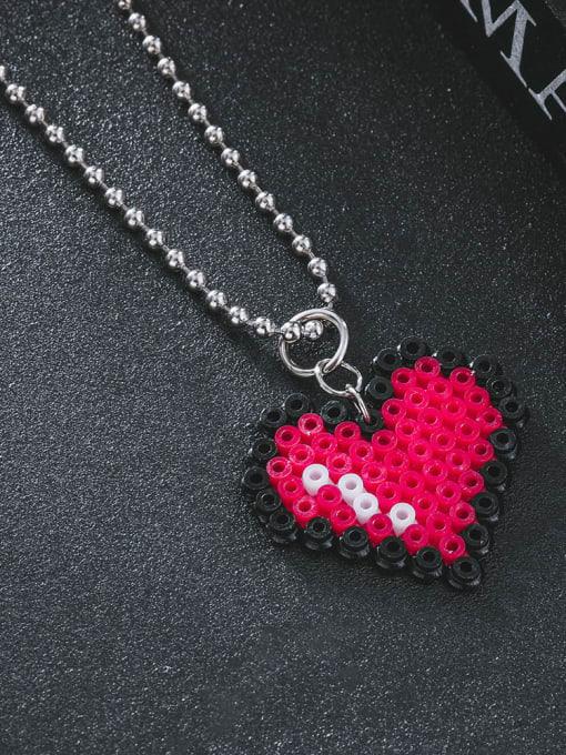 WOLF Stainless steel Bead Heart Minimalist Necklace