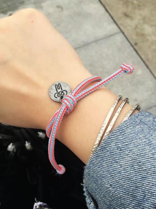 WOLF Titanium Steel Bowknot Hip Hop Woven Bracelet 1