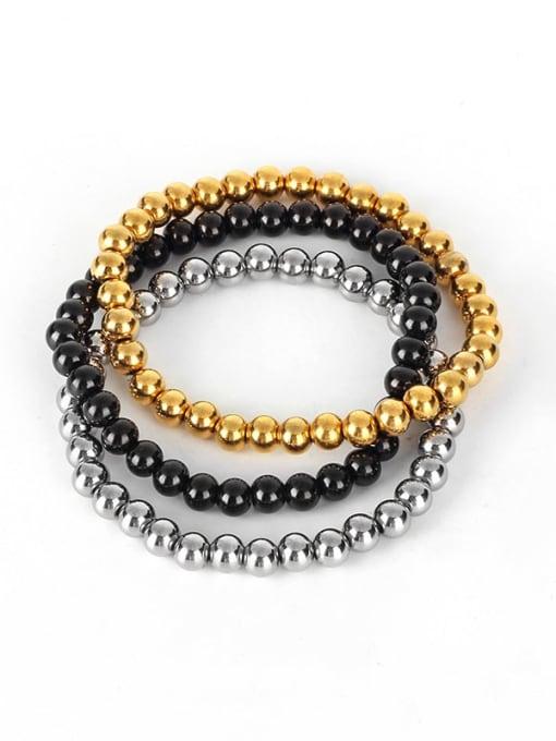 WOLF Titanium Steel Bead Round Hip Hop Beaded Bracelet 1