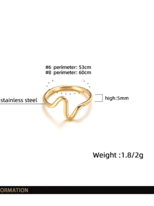 WOLF Titanium Steel Irregular Minimalist Band Ring 4