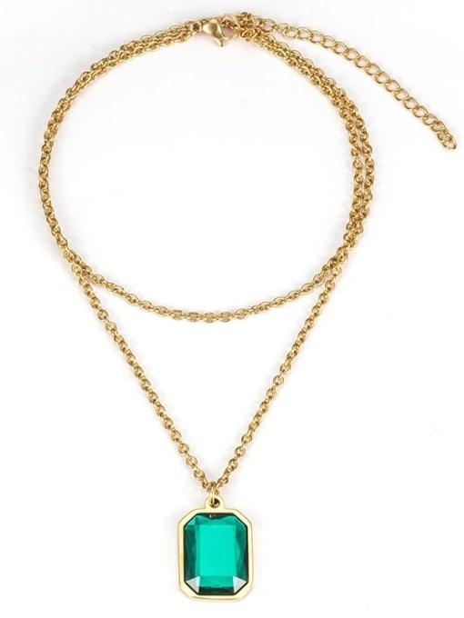 Green gem (without chain) Titanium Steel Glass Stone Geometric Minimalist Long Strand Necklace