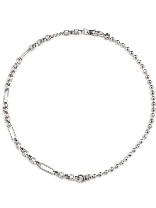 WOLF Titanium Steel Bead Geometric Hip Hop Necklace 0