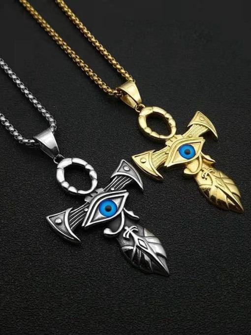 HI HOP Titanium Steel Enamel Cross Vintage Necklace