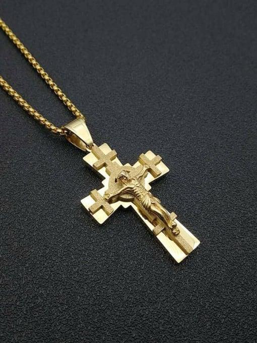 Gold +Chain:3mm*61cm Titanium Steel Cross Vintage Regligious Necklace