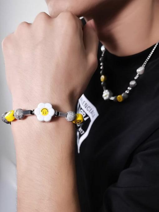 WOLF Titanium Steel  Geometric Hip Hop Sun Flower Smiley Necklace 1