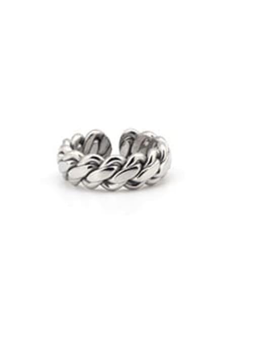 WOLF Titanium Steel Geometric Minimalist Band Ring 3