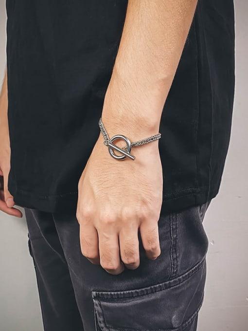 WOLF Titanium Steel Irregular Hip Hop Bracelet 2