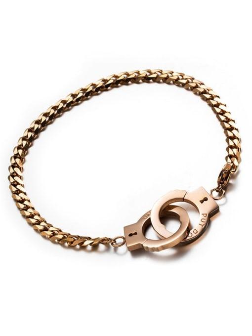 Rose Gold handcuffs Titanium Steel Irregular Vintage Handcuffs  Link Bracelet
