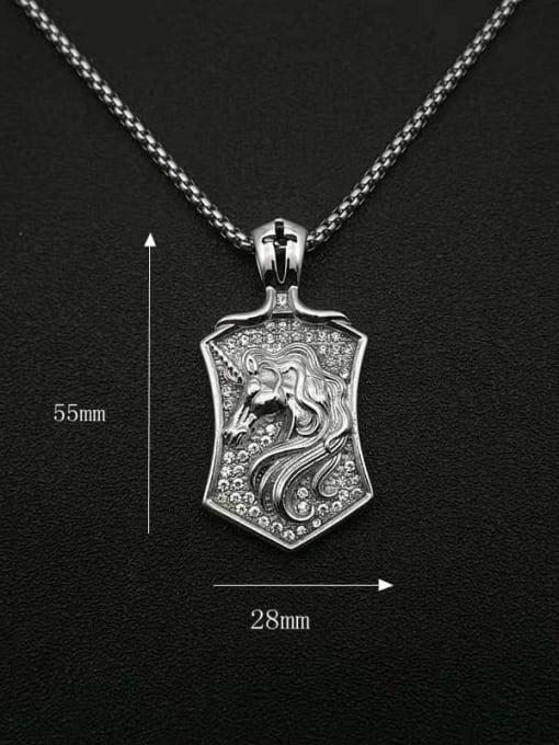 HI HOP Titanium Steel Rhinestone Horse Vintage Necklace 1