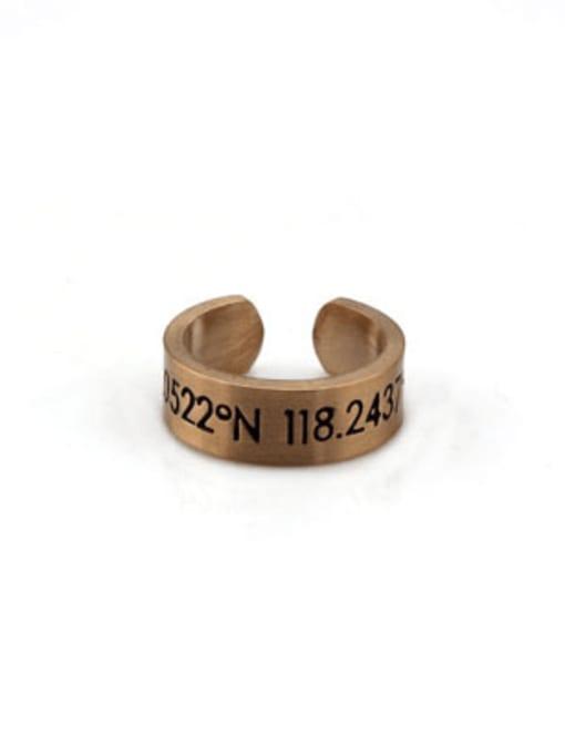 Rose gold (size 6) Titanium Steel Number Vintage Band Ring