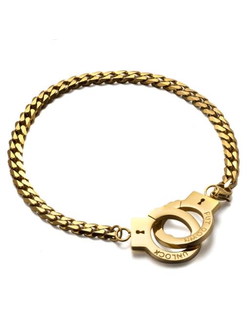 WOLF Titanium Steel Irregular Vintage Handcuffs  Link Bracelet 0