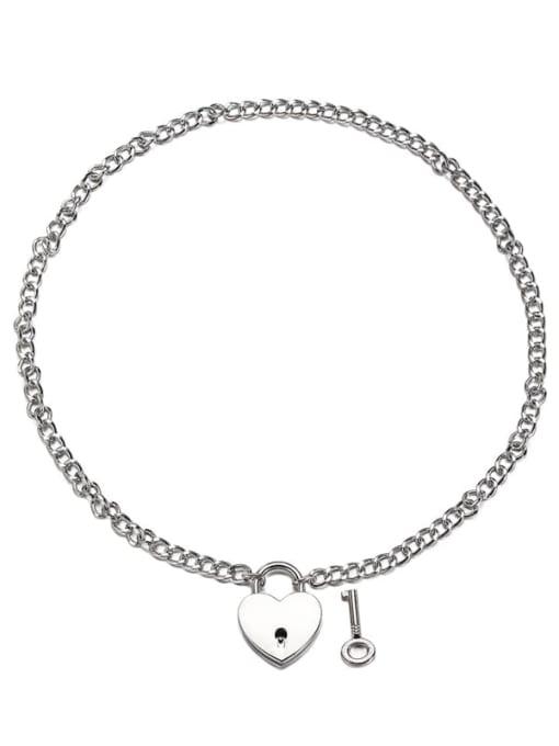 Steel color Titanium Steel Heart Hip Hop Necklace