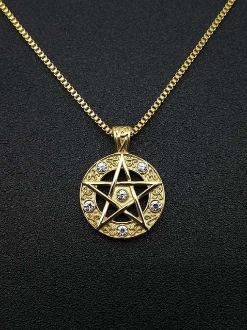 Gold +chain 2mm*61cm Titanium Steel Rhinestone Star Vintage Necklace