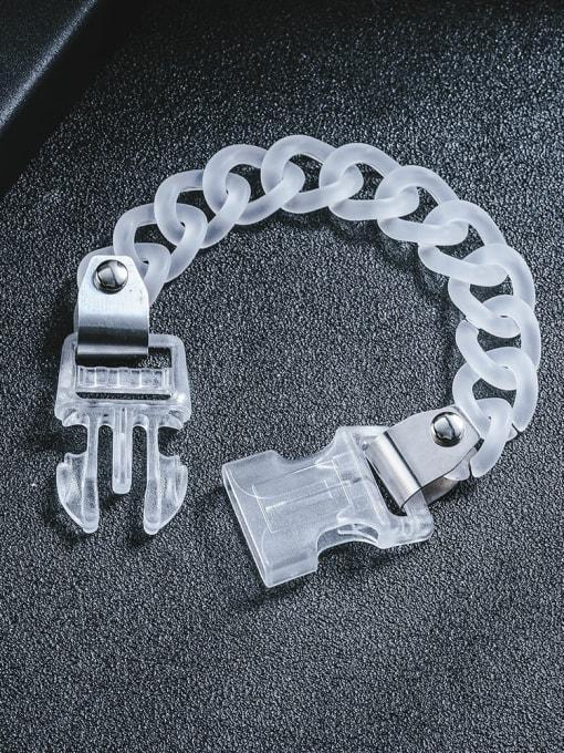 WOLF Titanium Steel Acrylic Geometric Hip Hop Link Bracelet 1
