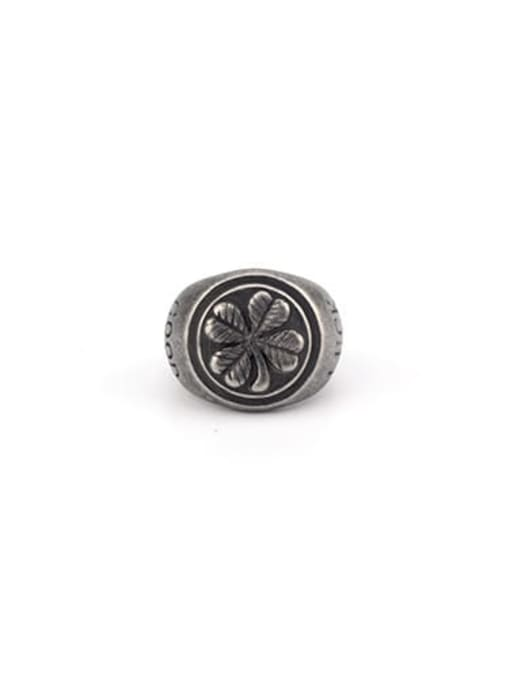 Antique (size 8) Titanium Steel Geometric Vintage Band Ring
