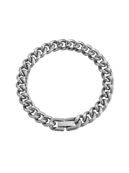Steel color (8mm*18cm) Titanium Steel Geometric Hip Hop Link Bracelet