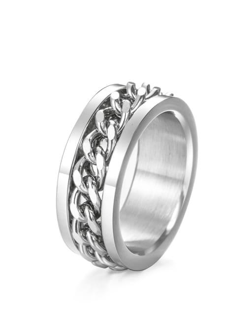 Steel color (size 7) Titanium Steel Irregular Vintage Band Ring