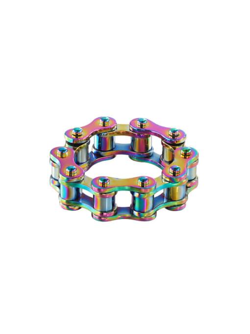 Multicolor Titanium Steel Irregular Vintage Band Ring