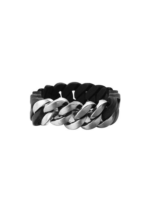 WOLF Titanium Steel Resin Geometric Hip Hop Link Bracelet 4
